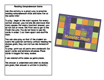 Monster Mash Game and Writing Prompts