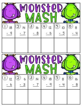 Halloween Math - Monster Mash Game EDITABLE
