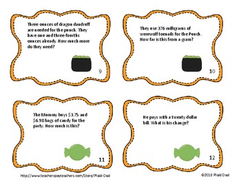 Monster Mash Math Word Problems Task Cards