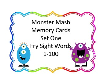 Monster Mash Memory-High Frequency Word Practice Game