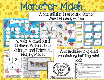 photo relating to Mash Game Printable titled Monster Mash Multisyllabic Activity Prefix and Suffix Term Fluency