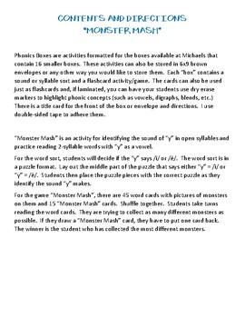 "Monster Mash - Phonics Box #11 - Vowel ""y"""