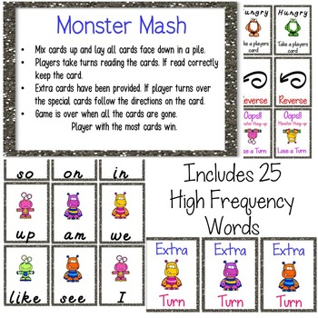 Monster Mash Sight Word Games (High Frequency Words 1-25)
