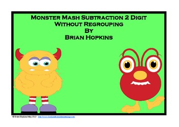 Monster Mash Subtraction 2 Digit Without Regrouping