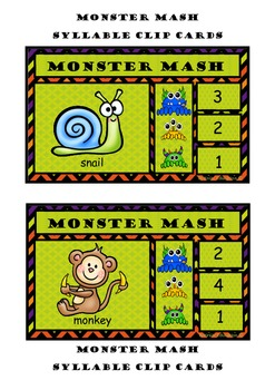 Monster Mash Syllable Clip Cards