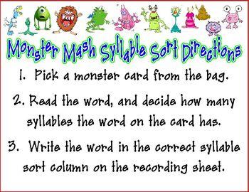 Monster Mash Syllable Sort Center