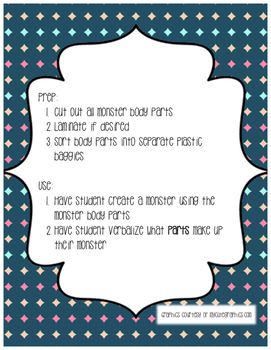 Monster Mash Up: A Parts Learning Activity