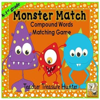 Monster Match ~ Compound Words Game **K-1st** ELA Wordwork
