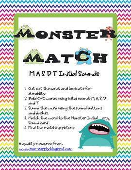 Monster Match Initial Sound M A S D and T