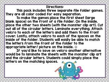 Monster Match- Letter Matching File Folder Games