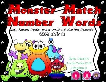 Monster Match Number Words: First Grade Common Core NBT.1