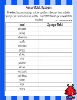 Monster Match: Synonyms and Antonyms Centers