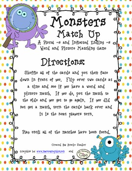 Monster Match Up - A Plural -s and Inflected -s Word Match