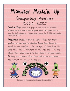 Monster Match Up Common Core Math Game