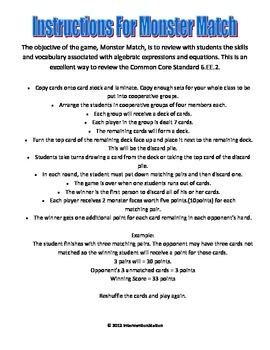 Monster Match - Writing Expressions and Equations - Middle School