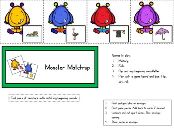 Monster Phonics Match-up Alphabet A-Z Beginning Sounds