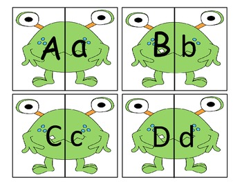 Monster Match-ups  (Matching upper to lower case letters and Numbers to sets)