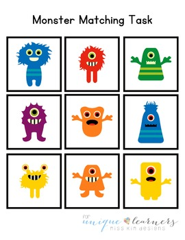 Monster Matching Folder Game for Early Childhood Special Education