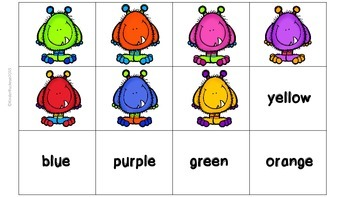 Monster Matching Game--Color Words and Quantity/Numeral