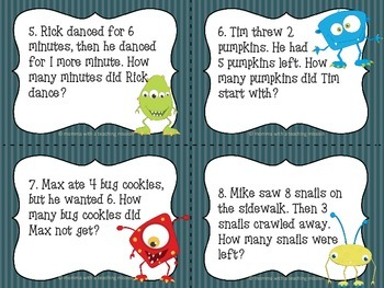 Monster Math 1.OA.2 Solving Addition & Subtraction Word Problems
