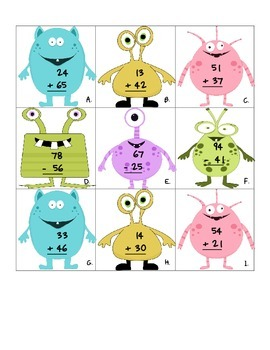 Monster Math - 2 Digit Addition & Subtraction without Regrouping Center