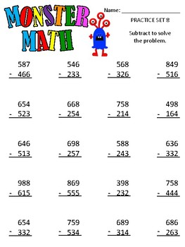 Monster Math - 3 Digit addition and subtraction