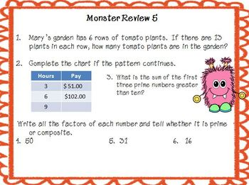 Monster Math 5th grade Spiral Review Packet