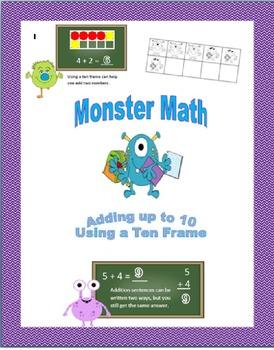 Monster Math: Adding up to 10 Using a Ten Frame