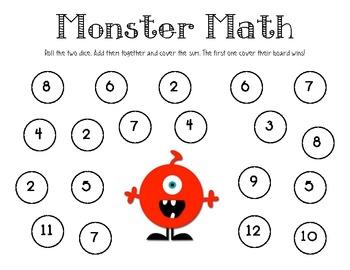 Monster Math Addition Center Game