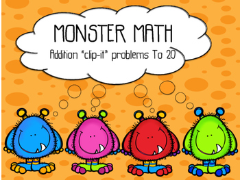 "Monster Math Addition ""Clip-It"""