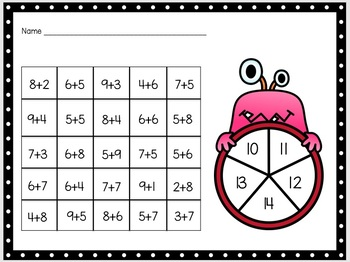 Monster Math  Addition Spinners