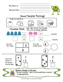Monster Math Addition Subtraction Spiral Review Free Sample