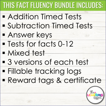 Addition & Subtraction Timed Tests BUNDLE
