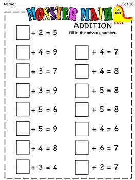 Monster Math - Addition Sums to 10