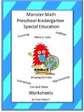 Monster Math Center Cut and Paste Special Education Math Kindergarten
