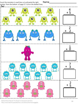 Monsters Interactive Cut and Paste Math Notebook Activities Special Ed Math