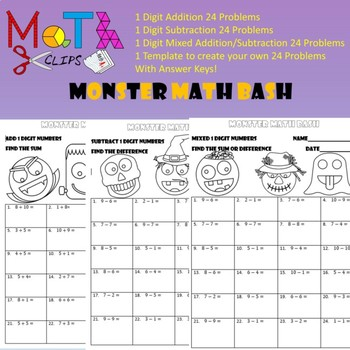 monster math bash  digit addition and subtraction worksheets by  monster math bash  digit addition and subtraction worksheets by math clips