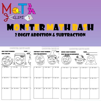 Monster Math Bash 2 Digit Addition and Subtraction Worksheets