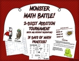 Monster Math Battle! - 2 digit addition with and without regrouping