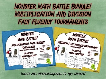 Monster Math Battle Bundle! - Multiplication and Division Tournaments