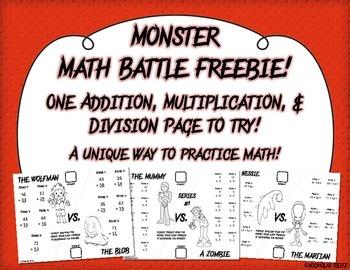 Monster Math Battles Freebie!