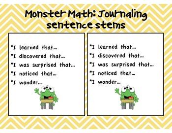 Monster Math Bilingual Journaling Sentence Stems