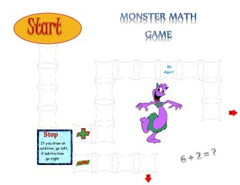 Monster Math Board Game for Basic Addition & Subtraction