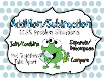 Monster Math CCSS +/- Problem Situation Kit