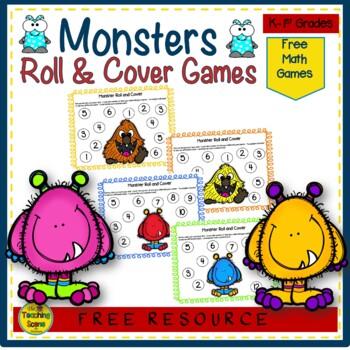 Monster Math Center Freebie:  Roll & Cover
