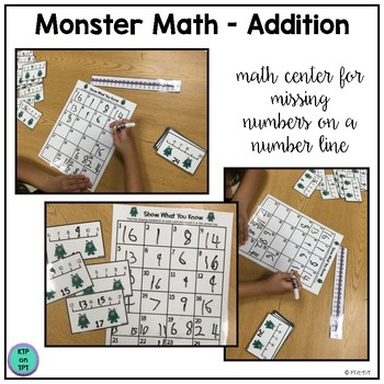 Monster Math Center: Addition and Number Line Practice