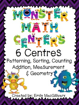 Monster Math Centers (Centres) - 6 Different Activities
