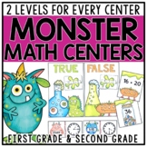 Monster Differentiated Math Centers for 1st & 2nd Grade