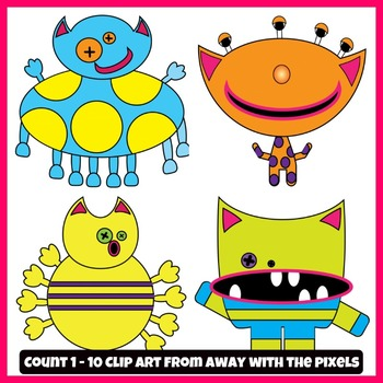 Monster Math Clip Art Count 1 - 10 Color and Blackline Clipart for Teachers