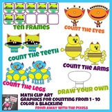 Monster Math Clip Art Count 1 - 10 Color and Blackline Cli